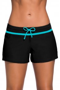 Blue Trim Black Women Swim Boardshort