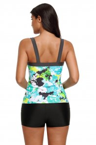 Mint Abstract Printed Camisole Tankini Top