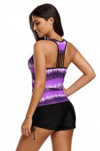 Purple Print Tummy Control Sport Tankini Top