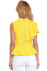 Yellow Asymmetric Ruffle Side Peplum Top