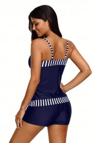 Striped Trim Navy 2pcs Tankini Bathing Suit