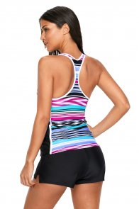 Fuchsia Blue Muti Striped Racerback Tankini Top