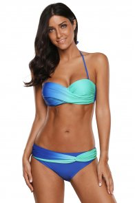 Blue Green Tie Dye Bikini Swimwear
