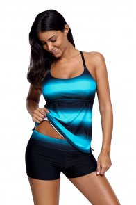 Bluish Strappy Hollow-out Back Tankini