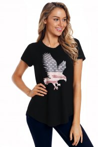 America Flag Eagle Black Daily T-shirt