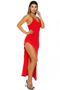 Red Side Slit Lace Trim Party Dress