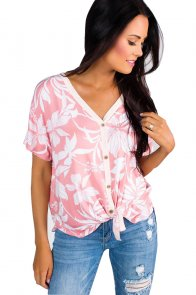 Pink White Floral Button Front Short Sleeve Top