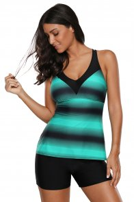 Green Black Ombre Print Strappy Tankini and Short Set