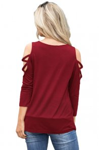 Burgundy Crisscross Cold Shoulder Quarter Sleeve Blouse