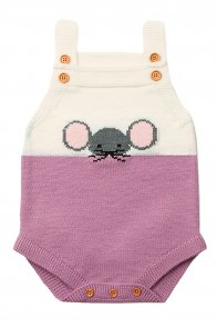 Lilac Little Mouse Cotton Bodysuit Sleeveless Baby Suit