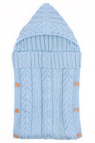 Light Blue Unisex Baby Cable Knitted Blanket