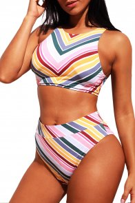 Candy Color Striped Tank High Waist Bikini