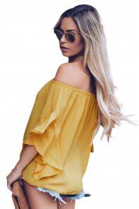 Yellow Off The Shoulder Knot Front Top