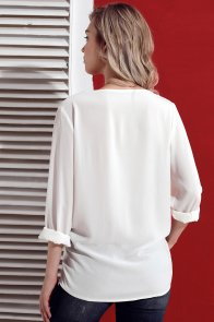 White Turndown Collar Asymmetric Button Down Blouse