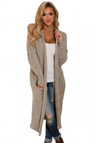 Khaki Open Front Knit Long Cardigan