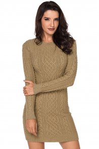 Khaki Slouchy Cable Sweater Dress