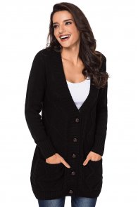 Black Front Pocket and Buttons Closure Cardigan