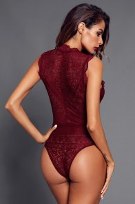 Red V Neck Hollow-out Lace Bodysuit