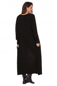 Black Open Front Knit Long Cardigan