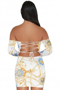 White Chain Print Lace Up Back Off Shoulder Boho Dress