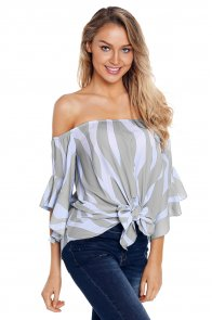 Off The Shoulder Vertical Stripes Blouse in Grey