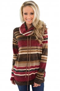 Red Multicolor Cowl Neck Striped Cozy Sweatshirt