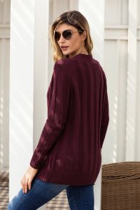 Wine Wooden Button Cardigan