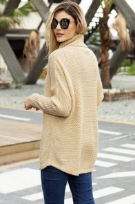 Apricot Ribbed Sleeves Turtleneck Sweater Pullover