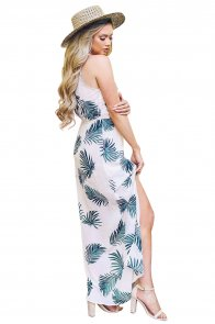 White Leaf Print Front Slit Halter Boho Dress