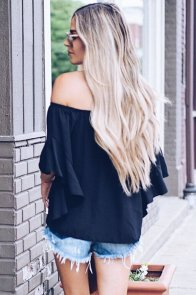 Black Off The Shoulder Knot Front Top