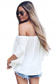 White Off The Shoulder Knot Front Top
