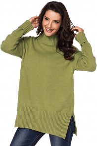 Mustard Turn-up Sleeve Turtle Neck Sweater