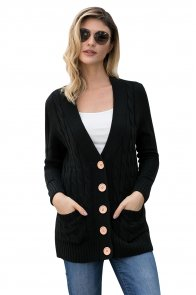 Black Wooden Button Cardigan