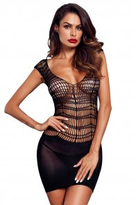 Black Pothole Chemise Lingerie Mini Dress
