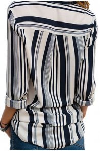 White Navy Striped Modern Women Shirt