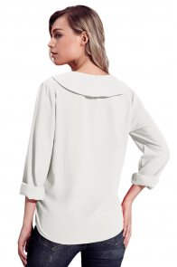 White Lapel V Neck Roll Sleeve Blouse