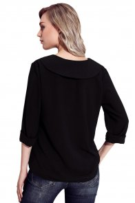Black Lapel V Neck Roll Sleeve Blouse