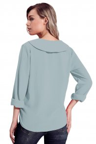Grey Lapel V Neck Roll Sleeve Blouse