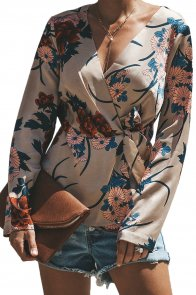 Apricot Ginger Lily Floral Wrap Tie Waist Long Sleeve Blouse