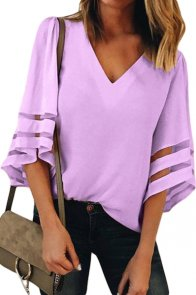 Purple Flare Sleeve V Neck Loose Blouse