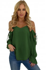 Army Green Spaghetti Strap Cold Shoulder Long Sleeve Top