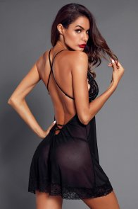 Black Low Back Crisscross Lace Trim Babydoll