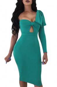 Turquoise Big Bow On Shoulder Bodycon Nightclub Dress
