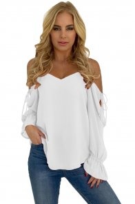 White Spaghetti Strap Cold Shoulder Long Sleeve Top