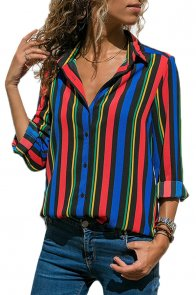 Multicolor Striped Modern Women Shirt
