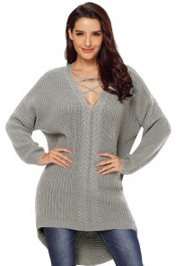 Gray Crisscross Oversize Sweater