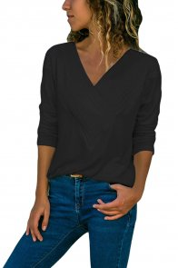 Black Long Sleeve V Neck Casual Top