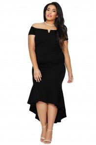 Black Plus Size Dip Hem Fishtail Midi Dress