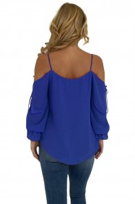 Royal Blue Spaghetti Strap Cold Shoulder Long Sleeve Top