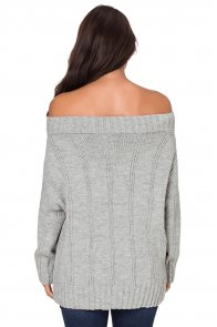 Gray Off The Shoulder Winter Sweater